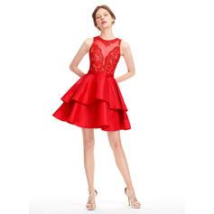 Forme Princesse Court/Mini Taffeta Robes de soirée étudiante (022214173)