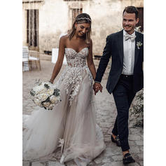 Appliques Sleeveless A-Line/Princess - Tulle Wedding Dresses