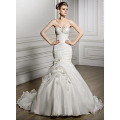 Trumpet/Mermaid Sweetheart Court Train Wedding Dresses With Ruffle Beading Flower(s) Sequins