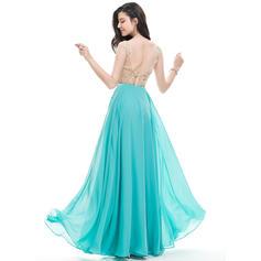 Gasa Cuentas Lentejuelas Escote en V Sin mangas Vestidos de baile de promoción (018107796)