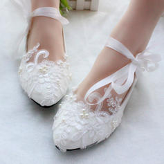 Women's Closed Toe Flats Flat Heel Patent Leather With Imitation Pearl Lace-up Applique Wedding Shoes