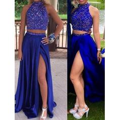 Satin Sleeveless A-Line/Princess Prom Dresses Scoop Neck Beading Split Front Sweep Train