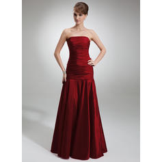 Trumpet/Mermaid Taffeta Bridesmaid Dresses Ruffle Strapless Sleeveless Floor-Length (007001839)