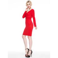 Lujoso Vestido tubo Escote en V Jersey Baile de promoción (016081108)