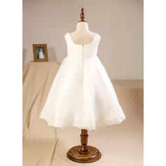 Vestidos princesa/ Formato A Coquetel Vestidos de Menina das Flores - Organza de Sem magas Decote quadrado com Renda (010094150)