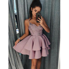 Gorgeous Stretch Crepe Sleeveless V-neck Ruffle Appliques Homecoming Dresses