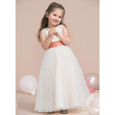 Ball Gown Floor-length Flower Girl Dress - Satin/Tulle Sleeveless Scoop Neck With Sequins/Pleated