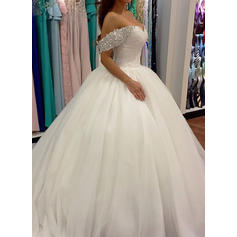 Ball-Gown Tulle Sleeveless Off-The-Shoulder Sweep Train Wedding Dresses