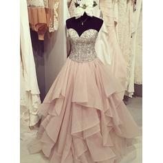 Chiffon Sleeveless Ball-Gown Prom Dresses Sweetheart Ruffle Beading Appliques Floor-Length