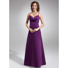 Empire Satin Bridesmaid Dresses Ruffle Sleeveless Floor-Length (007004279)