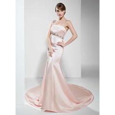 One-Shoulder Satin Chapel Train Evening Dresses Sleeveless (017022530)