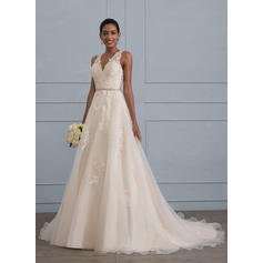Ball-Gown V-neck Court Train Organza Wedding Dress With Beading (002121437)