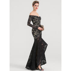 Trumpet/Mermaid Off-the-Shoulder Asymmetrical Lace Evening Dress (017147939)