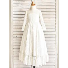 Vestidos princesa/ Formato A Longos Vestidos de Menina das Flores - Cetim/Renda Manga comprida Decote redondo com Cintos (010091411)