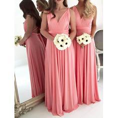 A-Line/Princess Chiffon Bridesmaid Dresses Ruffle V-neck Sleeveless Floor-Length (007211712)