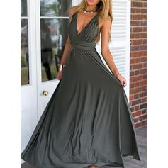 Chiffon Sleeveless Empire Prom Dresses V-neck Ruffle Floor-Length