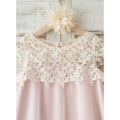 Vestidos princesa/ Formato A Coquetel Vestidos de Menina das Flores - Tecido de seda/Renda Sem magas Decote redondo com Renda (010117694)