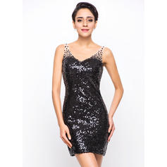 Sheath/Column V-neck Short/Mini Sequined Cocktail Dress With Beading
