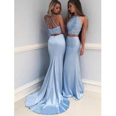Sheath/Column Halter Sweep Train Satin Prom Dresses With Beading (018217338)