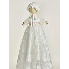 Dentelle Col rond Fleur(s) Robes de baptême bébé fille avec Manches courtes (2001216847)