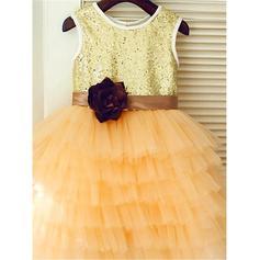 Escote redondo Corte A/Princesa Vestidos para niña de arras Tul/Con lentejuelas Flores Sin mangas Hasta la tibia (010212046)