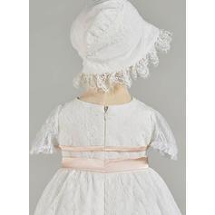 Tulle Col rond Brodé À ruban(s) Robes de baptême bébé fille avec Manches courtes (2001217438)