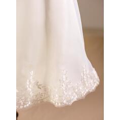 Forme Princesse Longueur genou Robes à Fleurs pour Filles - Organza Sans manches Encolure carrée avec Dentelle (010094150)