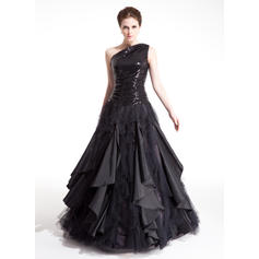 Sleeveless Taffeta Tulle Sequined One-Shoulder - Ball-Gown Prom Dresses (018212992)