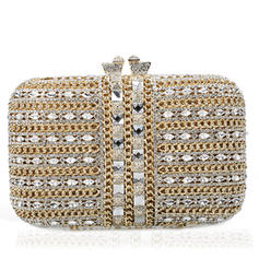 Wristlets/Bridal Purse/Luxury Clutches Wedding/Ceremony & Party Crystal/ Rhinestone/Gold Plated Magnetic Closure Gorgeous Clutches & Evening Bags