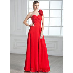 A-Line/Princess One-Shoulder Floor-Length Evening Dresses With Ruffle Flower(s)