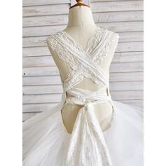 Robe Marquise Longueur cheville Robes à Fleurs pour Filles - Tulle/Dentelle Sans manches Col rond (010091400)