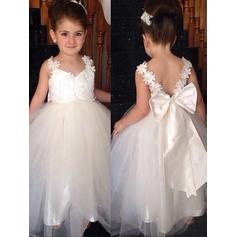 Magnificent Ankle-length Ball Gown Flower Girl Dresses V-neck Tulle/Lace Sleeveless