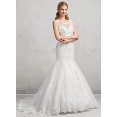Trumpet/Mermaid Illusion Chapel Train Tulle Lace Wedding Dress With Beading Sequins (002083693)