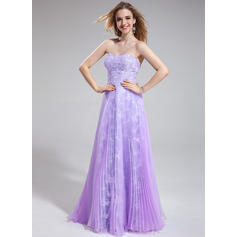 Organza Lace Sleeveless A-Line/Princess Prom Dresses Sweetheart Beading Sequins Pleated Floor-Length