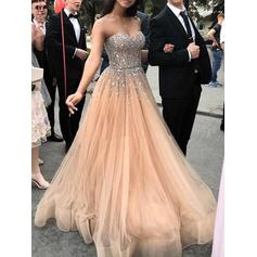 A-Line/Princess Sweetheart Sweep Train Prom Dresses With Beading (018219243)