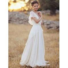 Col V Forme Princesse Robes de mariée Mousseline de soie Dentelle À ruban(s) Robe à volants Manches courtes Longueur ras du sol