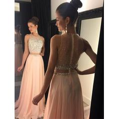 A-Line/Princess Scoop Neck Sweep Train Chiffon Evening Dresses With Beading