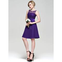A-formet/Prinsesse Scoop Hals Knelengde Chiffong Blonder Brudepikekjole (007074186)