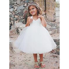 Cabestro Corte A/Princesa Vestidos para niña de arras Tul/Encaje Sin mangas Hasta la rodilla (010210975)