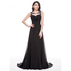 A-Line/Princess Chiffon Prom Dresses Ruffle Beading Appliques Lace Sequins Scoop Neck Sleeveless Court Train (018056786)