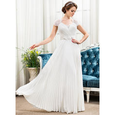 Sweetheart A-Line/Princess Wedding Dresses Chiffon Lace Beading Flower(s) Sequins Pleated Short Sleeves Floor-Length
