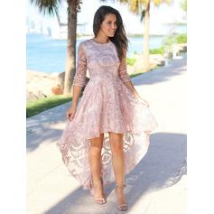A-Line/Princess Scoop Neck Asymmetrical Homecoming Dresses (022219301)