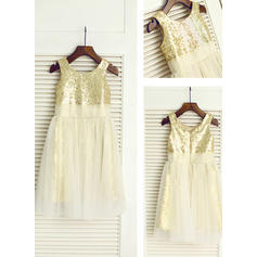 Scoop Neck A-Line/Princess Flower Girl Dresses Tulle/Sequined Sequins Sleeveless Knee-length