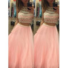 A-Line/Princess Tulle Prom Dresses Beading Halter Sleeveless Floor-Length