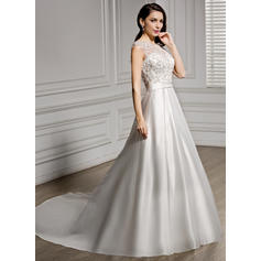 2019 New Satin Lace Wedding Dresses With A-Line/Princess Beading Sequins