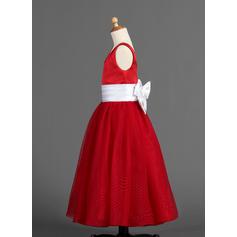 Forme Princesse Longueur ras du sol Satiné/Tulle - Élégant Robes de demoiselle d'honneur - fillette (010005900)