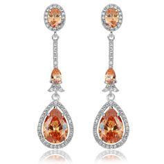 Earrings Zircon/Platinum Plated Pierced Ladies' Stylish Wedding & Party Jewelry
