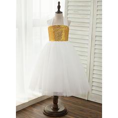 Vestidos princesa/ Formato A Longuete Vestidos de Menina das Flores - Tule/Lantejoulas Sem magas Cabresto (010141164)