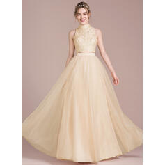 A-Line/Princess Scoop Neck High Neck Floor-Length Tulle Prom Dresses (018093863)