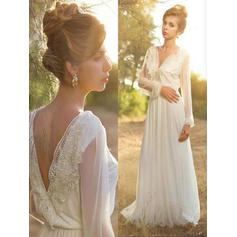 Sweep Train A-Line/Princess With Chiffon V-neck Wedding Dresses